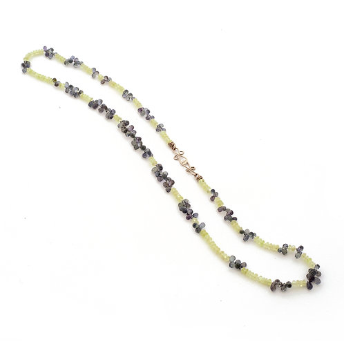 Necklace with Chrysoberyl and Grey Sapphire Briolettes.