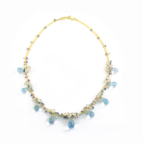 Blue Topaz, Green Amethyst, Tanzanite and Moonstone Necklace in 18k Gold.