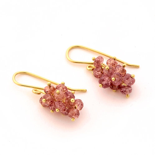 Color Change Garnet Cluster Earrings in 18k Gold.