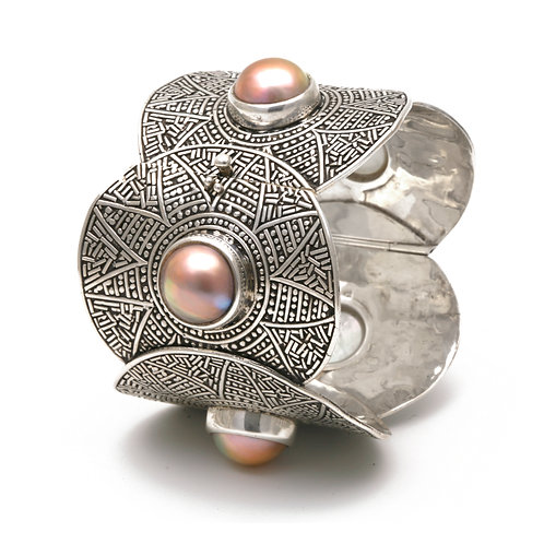 Inca Bangle Bracelet with natural color Mabe Pearls in sterling silver.