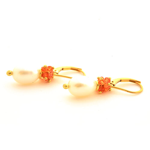Freshwater Pearl and Orange Sapphire Earrings in 18k Gold.