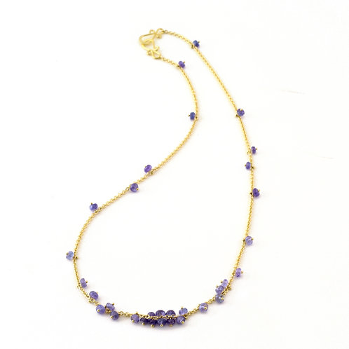 Floating Tanzanite Bead Necklace on 18k Gold Light Cable Chain.