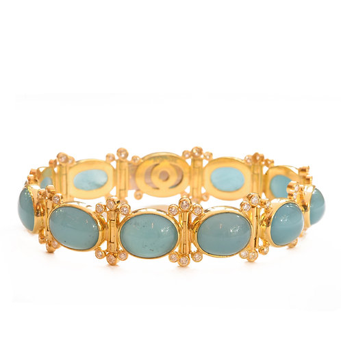 Bracelet in 18k Gold with Aquamarine and Diamonds
