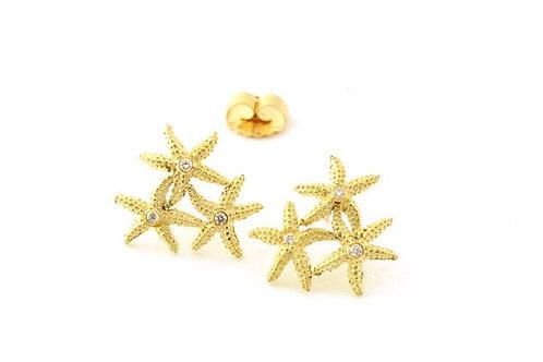 Triple Seastar Earrings with Diamonds