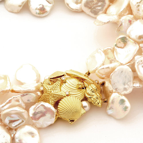 Freshwater Pearl Necklace with 18k Gold Sealife Clasp with Diamonds