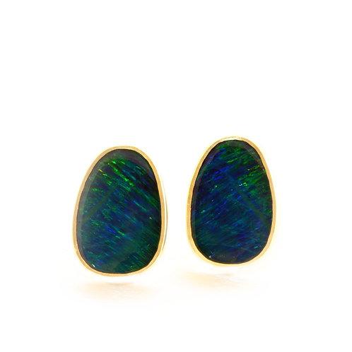 Opal Doublet Stud Earrings in 18k Gold.  1/2 inch.