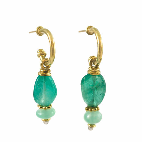 Emerald with Chalcedony, 18k hoops and 22k accents.