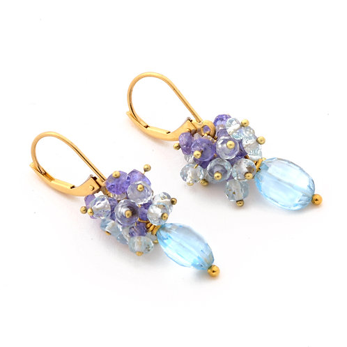 Tanzanite, Blue Topaz and Aquamarine Earrings in 18k Gold.