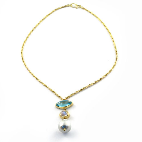 Blue Topaz, Moonstone and South Sea Pearl Pendant in 18k Gold on 18k Chain