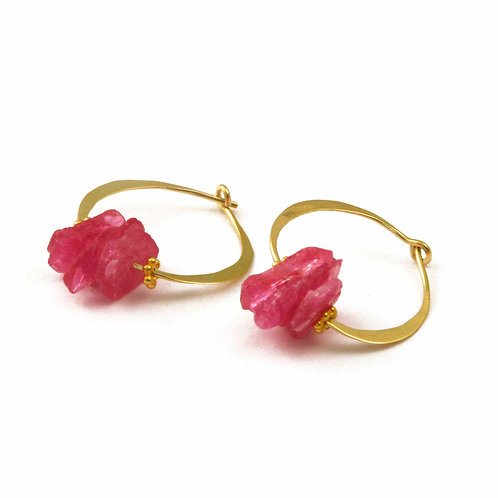 Pink Slices Of Sapphire on 18k Hoops and 22k side beads