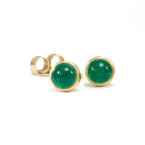 Emerald Cabochon Earrings in 18k Gold.