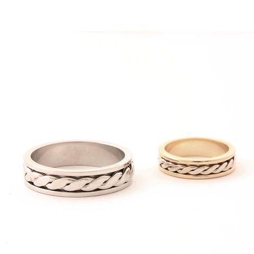 Spinning Braid Rings can be ordered in combinations of 14k, 18k and Platinum