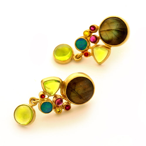 18K Gold Earrings with Labradorite, Peridot, Ruby, Opal and Amethyst