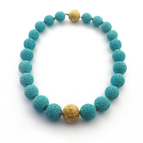 Italian Carved Persian Turquoise Bead Necklace with 22k Beads.