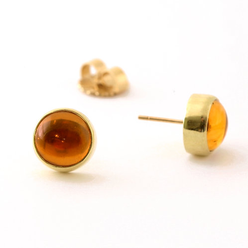 Citrine Cabochon Stud Earrings in 18k Gold.