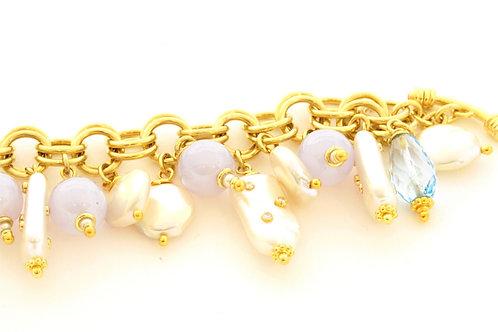 18k Handmade Charm Bracelet with Blue Chalcedony,  Pearls and Diamonds