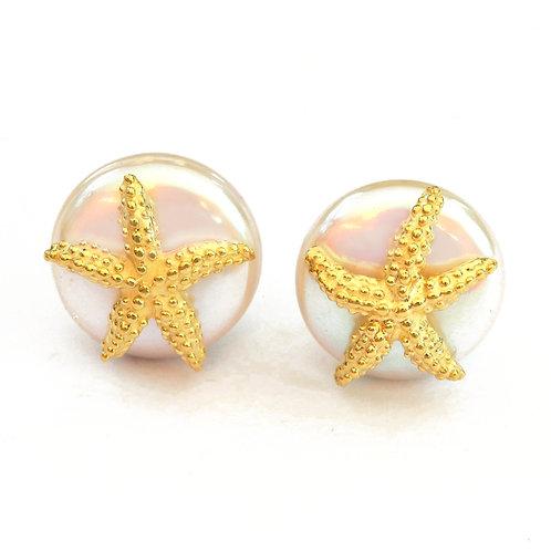 Coin Pearl and 18k Seastar Earrings