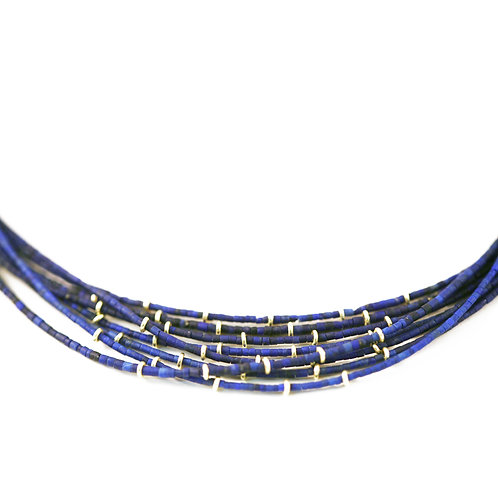 Slimmest Lapis Keshi with 18k rings and clasp
