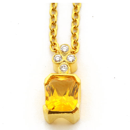 2.74 Carat Yellow Sapphire Pendant with .12 ctw diamonds in 22k gold