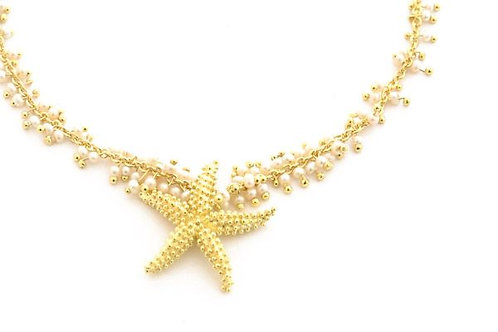 Seed Pearls and 18k Sea Star Necklace