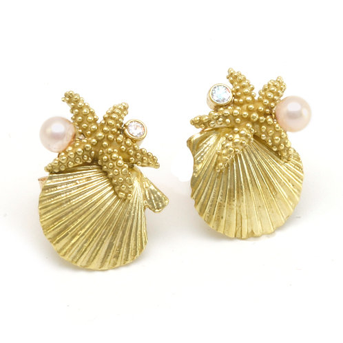 18k Sealife Earrings with .06 ctw Diamonds and Akoya Pearls.