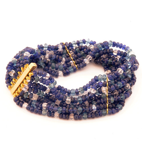 7-Strand Blue Sapphire, Aquamarine and Moonstone Bracelet with 18K Gold Spacers