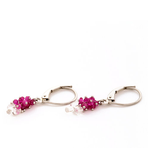Ruby and Diamond Earrings in Platinum