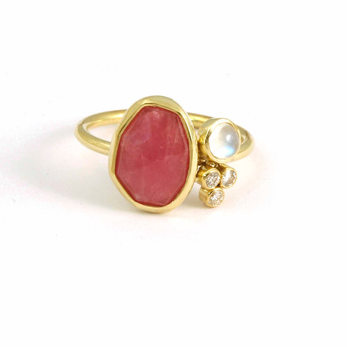 Assembly ring with Pink Sapphire , Diamond and Moonstone