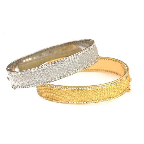 Hinged Basket Weave Bangle Bracelets with Diamonds