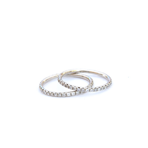 Micropave Platinum Wire Bands with Diamonds
