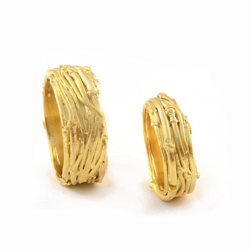 Solid Twig Rings in 18k Gold.