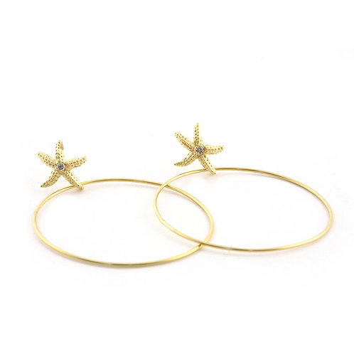 18k Seastars with 2 inch hoops and .06 ctw Diamonds.
