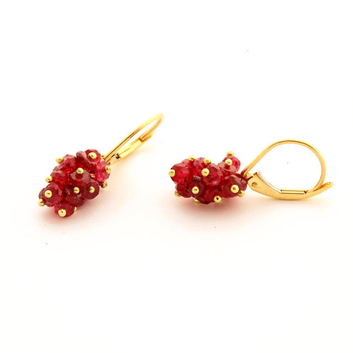 Red Spinel Cluster Earrings in 18k Gold.