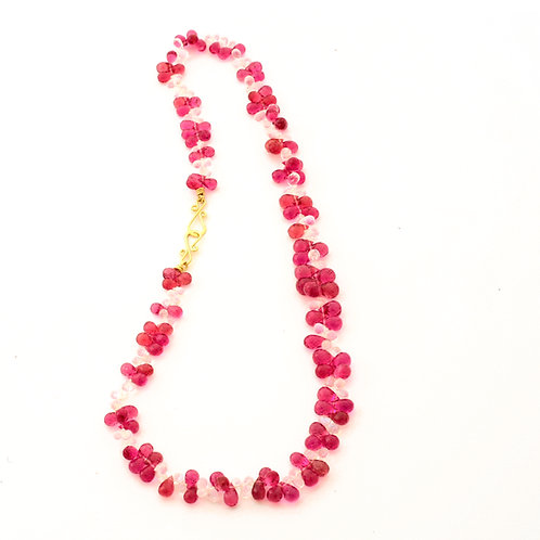 Pink Tourmaline and Moonstone Briolette Necklace.
