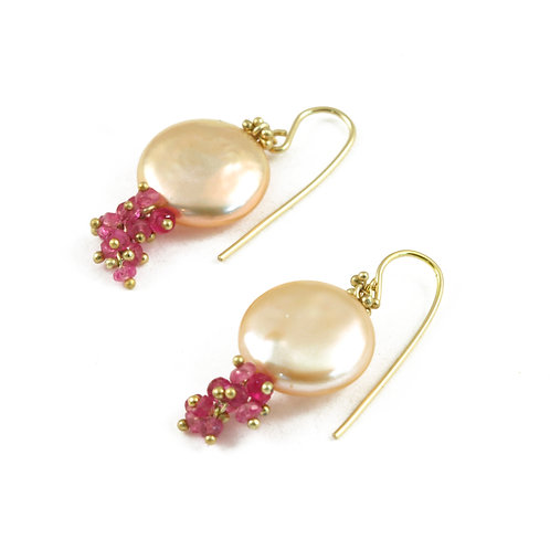 Pink Sapphire and metallic luster coin Pearl drops in 18k