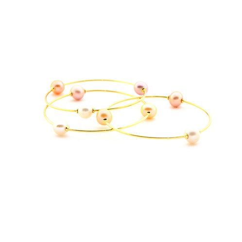 18k Gold Bangle Bracelet with Natural Color Freshwater Pearls. Can be made in an