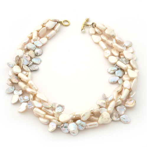 4-Strand Mixed White Coin, Stick and Keshi Pearl Necklace with a 18K Gold Toggle