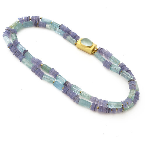 Double Strand Blue Chalcedony, Aquamarine and Labradorite Necklace with 18k Gold