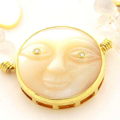 Moonstone and Mother of Pearl Necklace in 18k Gold, Diamond Eyes.