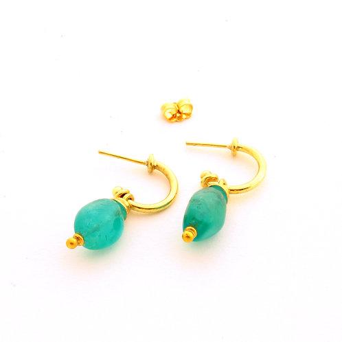 18k Gold Hoop Earrings with Emerald.