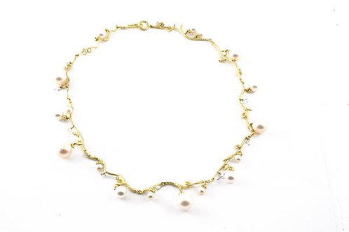 18k Twig Necklace with Akoya Pearls or blue diamond beads