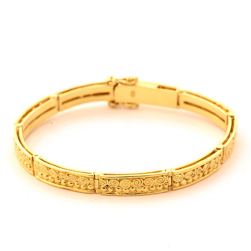 Hinged Celtic Link Bracelet in 18k Gold with Diamond Clasp.