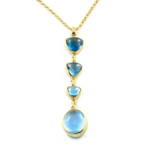 Blue Topaz and Aquamarine Pendant in 18k Gold.