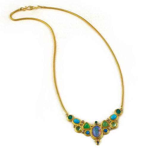 Tonal Blues and Greens Necklace