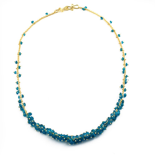Tapered Apatite Cluster Necklace in 18k Gold.  16 inches.
