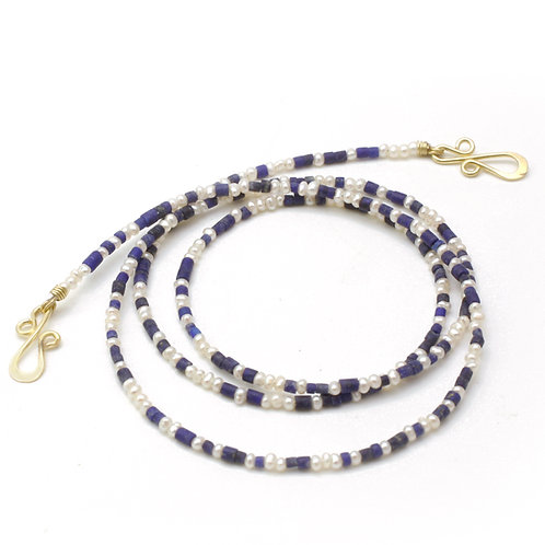 Micro Lapis Keshi beads and seed Pearl Necklace