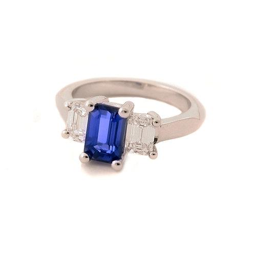 2.05 Carat Emerald Cut Blue Sapphire with Diamonds in Platinum
