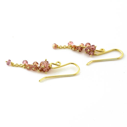 Color Change Garnet Cluster Earrings in 18k Gold.  1 1/4 inches.