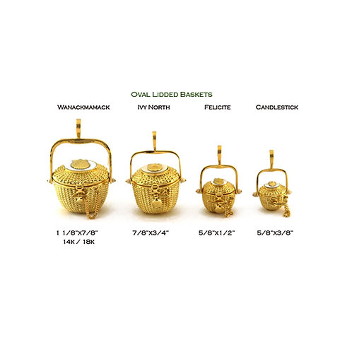 Oval Lidded Nantucket Lightship Baskets in 14k and 18k Gold