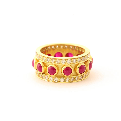 18k Band with Ruby Cabochons and 1.40 ctw G-H color, VS2 clarity Diamonds.